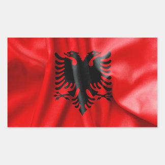 Rektangulär klistermärke för Albanien flagga