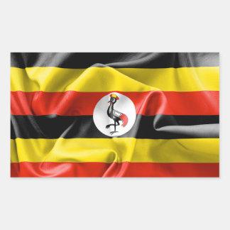 Rektangulär klistermärke för Uganda flagga