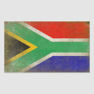 Rektangulär klistermärke med flagga från Sydafrika