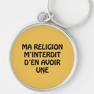 religion rund silverfärgad nyckelring