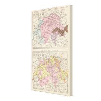 Religiös och språklig karta av Schweitz Canvastryck