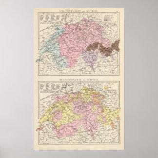 Religiös och språklig karta av Schweitz Poster