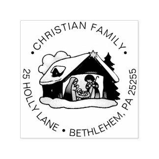 Religiös returadress för julNativityfamilj Självfärgande Stämpel