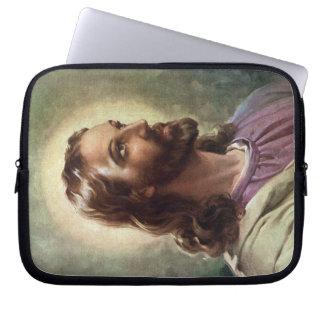 Religiöst porträtt för vintage, Jesus Kristus med Laptop Fodral