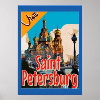 Remastered besökSt Petersburg vintage affisch