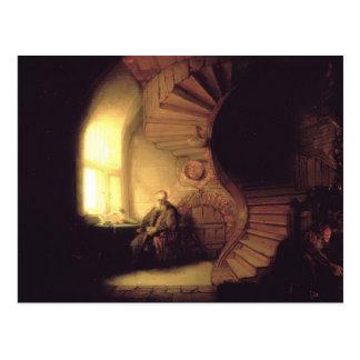 Rembrandt filosof i meditation vykort