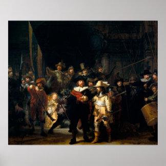 Rembrandt Van Rijn nattklockan Poster