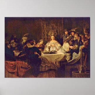 Rembrandt Van Rijn - Samson på bröllopbord Poster