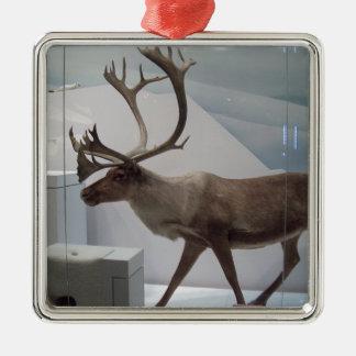 Ren; caribou silverfärgad fyrkantigt julgransprydnad