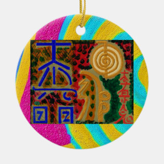 Ren färg - Reiki symboler 2 Julgransprydnad Keramik