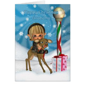 Ren för julmormorälva, Rudolf, nordpolen Hälsningskort