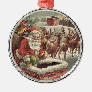 Ren för julvintagejultomten rund silverfärgad julgransprydnad