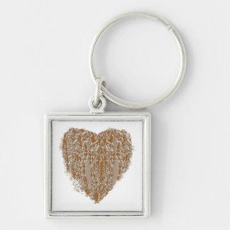 REN hjärta - silver för guld n inristade design Fyrkantig Silverfärgad Nyckelring
