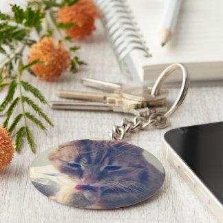 Ren katt rund nyckelring