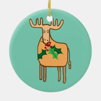 ren med järnek jul dekorationer