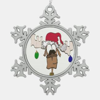 Ren med prydnaden för Pewter för Santa hatt~ Julgransprydnader