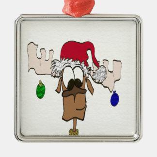 Ren med prydnaden för Santa hatt~ Jul Dekorationer