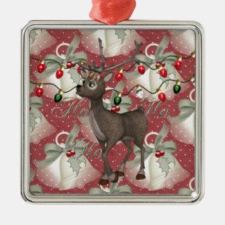 Ren och jul Klockor Silverfärgad Fyrkantigt Julgransprydnad