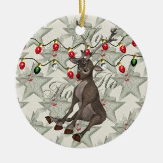 Ren- och julljus rund julgransprydnad i keramik