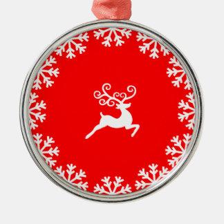Ren och snöflingor rund silverfärgad julgransprydnad