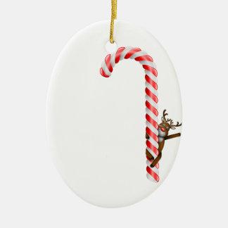 Ren på candy cane ovalformad julgransprydnad i keramik