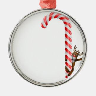 Ren på candy cane rund silverfärgad julgransprydnad
