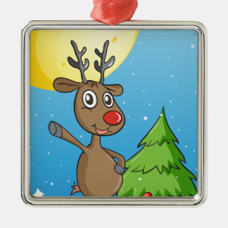 ren silverfärgad fyrkantigt julgransprydnad