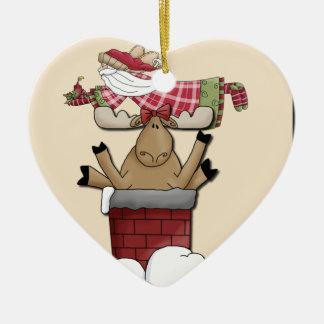 Ren som klibbas i lampglaset hjärtformad julgransprydnad i keramik
