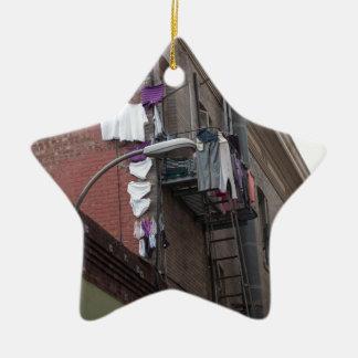 Ren tvätt stjärnformad julgransprydnad i keramik
