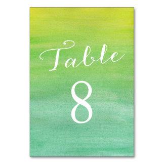 Rena kärlekbordsnummerkort/limefruktsmaragd bordsnummer