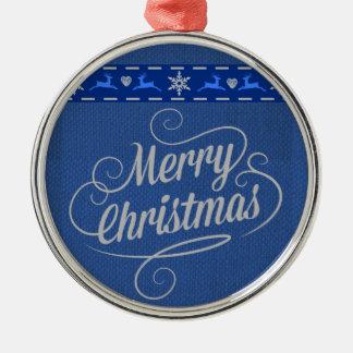 Renar och hjärtor rund silverfärgad julgransprydnad