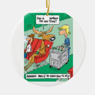 Renen vet hur man flyger! rund julgransprydnad i keramik