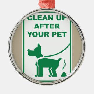 Rengöringen upp efter ditt husdjur undertecknar julgransprydnad metall