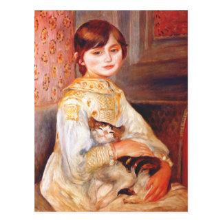 Renoir flicka med kattvykortet