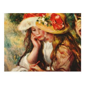 Renoir två flickor som är läs- i den trädgårds- vykort