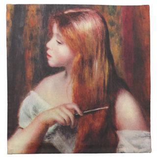 Renoir ung flicka som kammar henne hårservetter tygservett
