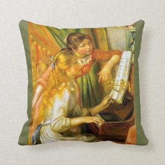 Renoir ung flicka som leker pianomusik kudde