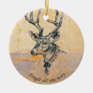 Renprydnad, (guld) rund julgransprydnad i keramik