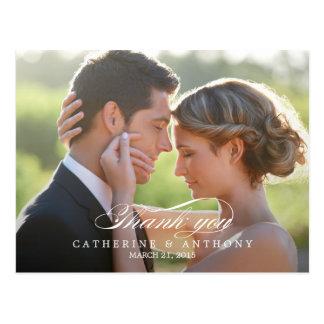 Rent kort för elegansbrölloptack - vit vykort