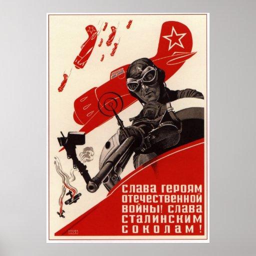 Reprint av en gammal sovjetisk rysk propagandaaffi posters