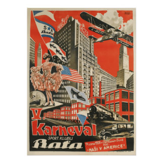 Reprint av en gammal sovjetisk tjeckisk propaganda poster
