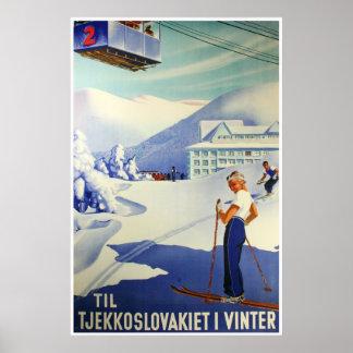 Reprint av en skandinavisk turismaffisch för vinta
