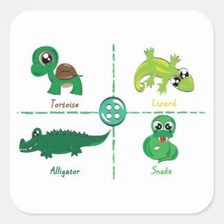 reptil fyrkantigt klistermärke