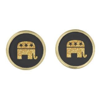 Republikansk GOP-elefant Guldpläterade Manschetterknappar