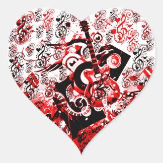 Resa av Music-Red_ Hjärtformat Klistermärke