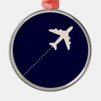 resa flygplan med prickigt fodrar julgransprydnad metall