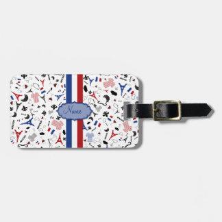 Resa till frankriken, franska symboler med flagga bagagebricka