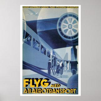 Reser svenska flygbolag för vintage (ABA) annonsen Poster
