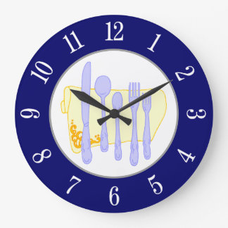 Restaurangsilverwaren på blåttvit numrerar tar tid stor klocka
