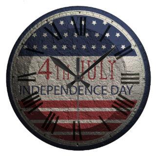 Retro 4th av väggen för den Juli Independenc Stor Klocka